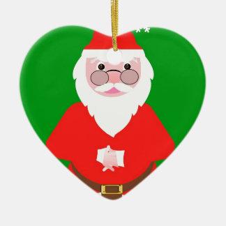 Ornement Cœur En Céramique Santa Claus