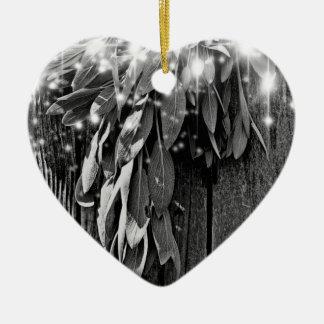 Ornement Cœur En Céramique Sauge légère de scintillement