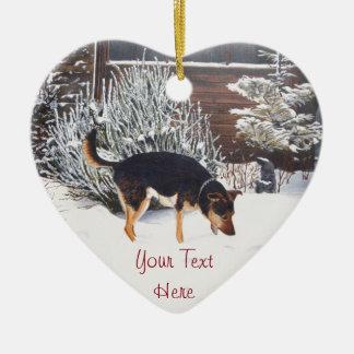 Ornement Cœur En Céramique scène de neige d'hiver avec le chien noir et