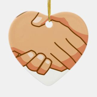 Ornement Cœur En Céramique Se serrer la main