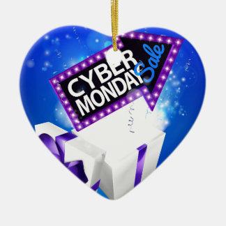 Ornement Cœur En Céramique Signe de boîte-cadeau de vente de lundi de Cyber