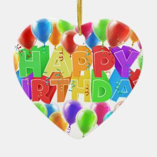 Ornement Cœur En Céramique Signe de joyeux anniversaire de ballons