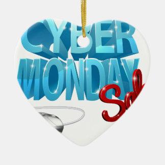 Ornement Cœur En Céramique Signe de souris d'ordinateur de vente de lundi de