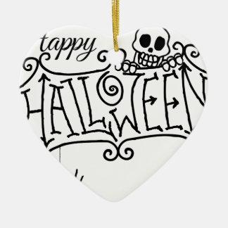 Ornement Cœur En Céramique Signe heureux de bande dessinée de Halloween