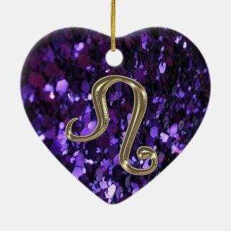 Ornement Cœur En Céramique Signe Lion de zodiaque d'or sur l'ornement pourpre