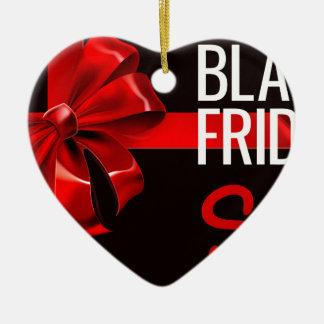 Ornement Cœur En Céramique Signe noir d'arc de ruban de cadeau de vente de