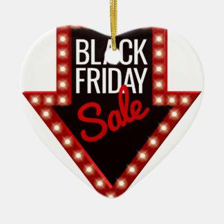 Ornement Cœur En Céramique Signe noir de flèche de vente de vendredi