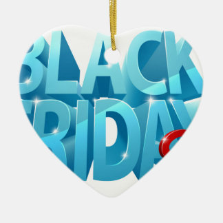 Ornement Cœur En Céramique Signe noir de la vente 3D de vendredi