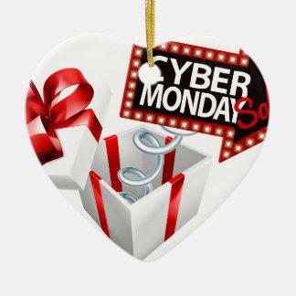 Ornement Cœur En Céramique Signe noir de vente de lundi vendredi de Cyber