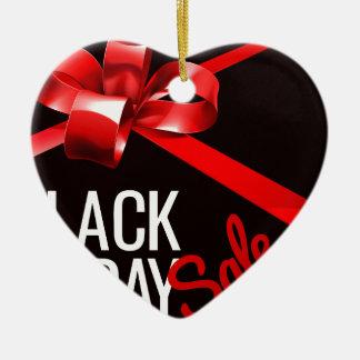 Ornement Cœur En Céramique Signe noir de vente de vendredi