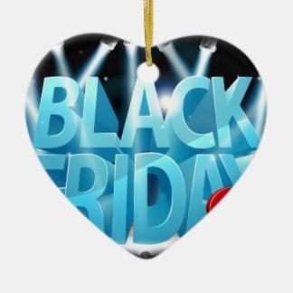 Ornement Cœur En Céramique Signe noir d'étape de vente de vendredi