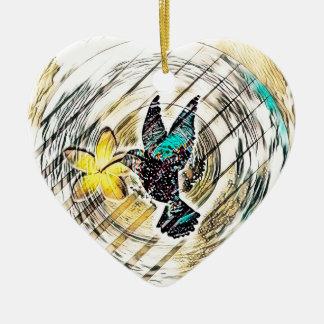 Ornement Cœur En Céramique Silhouette de colibri