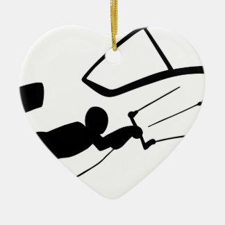 Ornement Cœur En Céramique Silhouette de surfer de vent