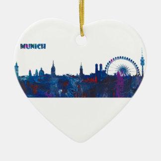 Ornement Cœur En Céramique Silhouette d'horizon de Munich