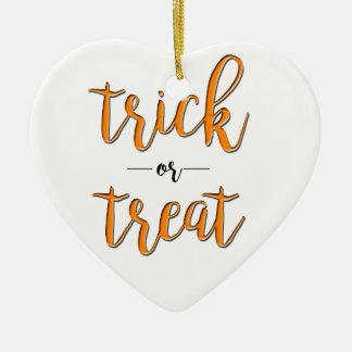 Ornement Cœur En Céramique simple noir orange de Halloween de des bonbons ou