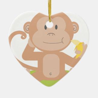 Ornement Cœur En Céramique Singe mangeant la banane
