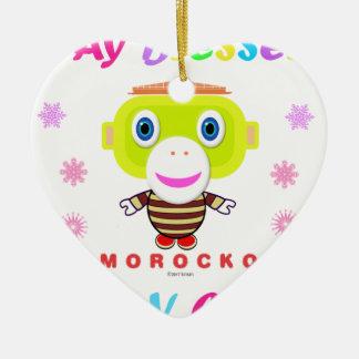 Ornement Cœur En Céramique Singe-Morocko Mignon-Mignon de séjour béni par