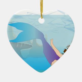 Ornement Cœur En Céramique Sirène