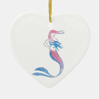 Ornement Cœur En Céramique Sirène colorée