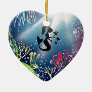 Ornement Cœur En Céramique Sirène d'art de peinture de jet dans l'océan