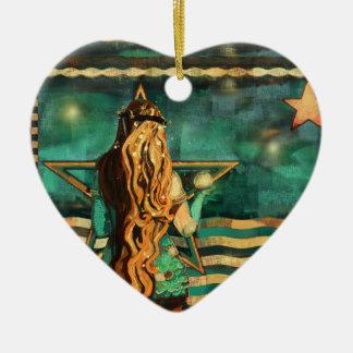 Ornement Cœur En Céramique Sirène par la mer avec la lune et les étoiles