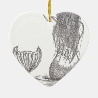 Ornement Cœur En Céramique Sirène réfléchie