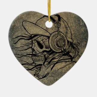 Ornement Cœur En Céramique Skull-and-crossbones