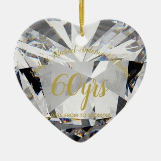 Ornement Cœur En Céramique soixantième Cadeau de PHOTO de diamant