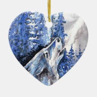 Ornement Cœur En Céramique Souffle bleu de froid de loups d'hiver de loup de
