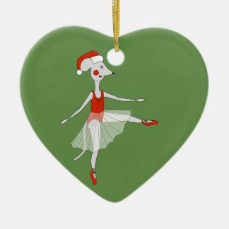 Ornement Cœur En Céramique Souris de ballerine - Special de Noël
