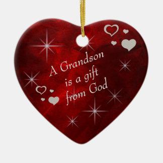Ornement Cœur En Céramique Souvenir de coeur de cadeau de petit-fils