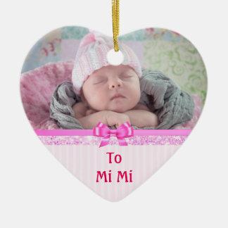 Ornement Cœur En Céramique Souvenirs ornementaux de coeur rose pour MiMi