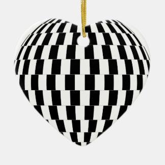 Ornement Cœur En Céramique Sphère d'illusion optique de damier
