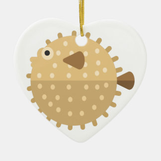 Ornement Cœur En Céramique Style de primitif de poissons de Purcupine