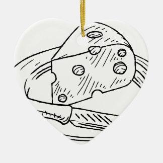 Ornement Cœur En Céramique Style vintage de gravure sur bois en tranche de