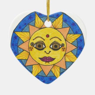 Ornement Cœur En Céramique Sun heureux