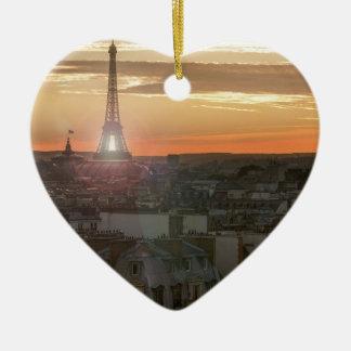 Ornement Cœur En Céramique Sunset on the Eiffel tower, Paris, France