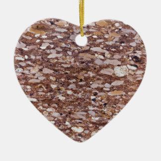 Ornement Cœur En Céramique Surface d'un grès rouge avec les geods siliceux