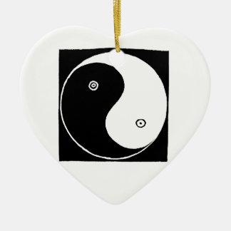 Ornement Cœur En Céramique Symbole de Yin Yang de Chinois