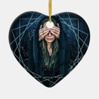 Ornement Cœur En Céramique Symbole spirituel d'intuition d'oeil de troisième