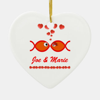 Ornement Cœur En Céramique Symboles chrétiens de Valentine - v1 orange
