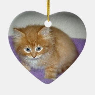 Ornement Cœur En Céramique Tache sur ce chaton