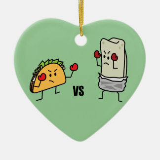 Ornement Cœur En Céramique Taco contre le burrito