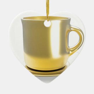 Ornement Cœur En Céramique Tasse de café d'or
