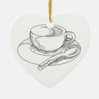 Ornement Cœur En Céramique Tasse de griffonnage de café