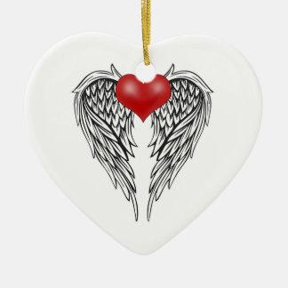 Ornement Cœur En Céramique Tatouage de coeur d'ange