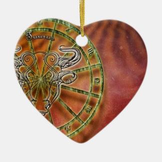 Ornement Cœur En Céramique taureau de signe de zodiaque