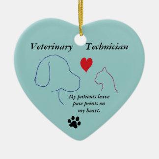 Ornement Cœur En Céramique Technicien vétérinaire - empreintes de pattes sur