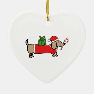 Ornement Cœur En Céramique Teckel de Noël