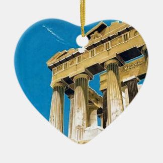 Ornement Cœur En Céramique Temple vintage de parthenon d'Athènes Grèce de